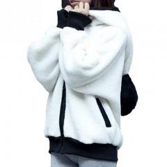 2018NEW Girls Sweet Panda Ear Hoodies Wool Furry Batwing Zipper-up Sweatshirt Outwear S