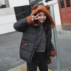 Winter Jacket women Plus Size Womens Parkas Thick Outerwear cute ear hooded Coat Short Female Sli Black193 L