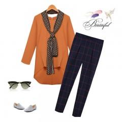 Arrival 2018 Brand Spring Autumn Fashion Women's Suits Loose Chiffon Blouses+Plaid Pants+Scarves Camel365458 S