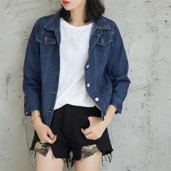 NewDenim Jacket Women Spring Autumn Loose Denim Coat Female Long Sleeved Jeans Jackets Women's Dark Blue173 L