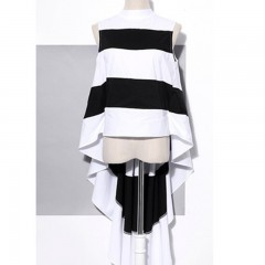 Striped Chiffon Shirt For Women Sleeveless Stand Collar Draped High Waist Asymmetrical Long Blous