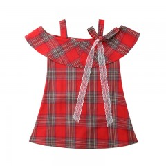 Style Fashion Design Girls Kids Princess Strap Off-shoulder Plaid Cotton Lace Bowknot Dress Holid