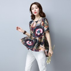 2018 New flower printing Women Blouses shirt flare Sleeve Chiffon women's clothing casual O Colla