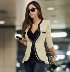 New Arrival Autumn Women Blazers and Jackets Work Office Lady Suit Slim White Black Blazer Coat White29 S