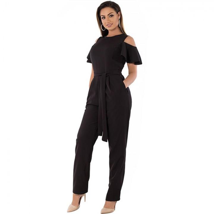 3d480db473fac Women Summer Jumpsuits Plus Size 3XL 4XL 5XL Off-shoulder Sashes Rompers  Black RedWine Solid Big