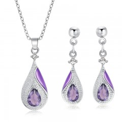 Selling Jewelry Set Including Cubic Zircorn Water Drop Earrings &amp Pendant Necklace Set For Wom