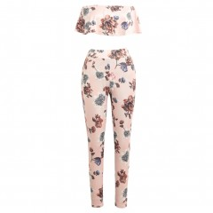 Sexy Casual Two piece Set Women Tracksuit Outfits Strapless Crop Top Long Pants Floral Print Ruff Pink1052 L