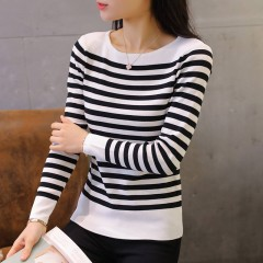 Pull Femme Stripe Sweater O-neck Knitted Pullover Jumper Long Sleeve Slim Fit Knitwear Woman Pull