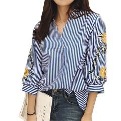 Women Sleeve Flowers embroidered Shirt Womens Streetwear Clothing femme blusas striped shirts blo Blue173 l