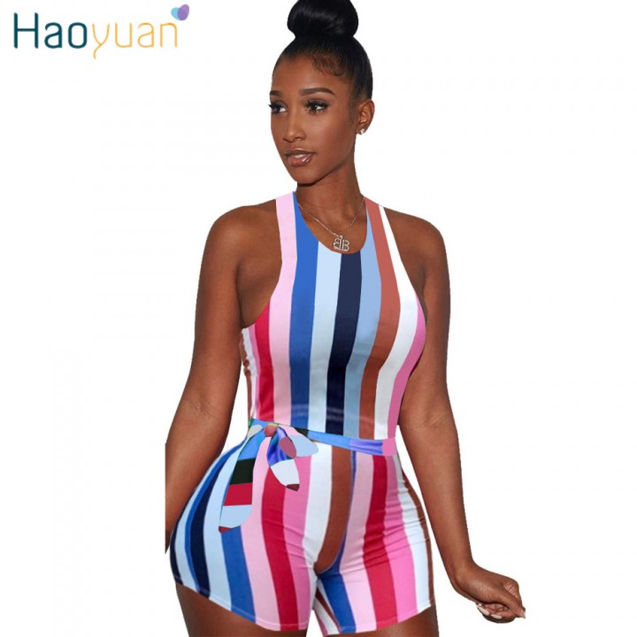 dd225b8f762 Sexy Striped Playsuit With Sashes 2018 Summer Overalls Club Bodycon  Bodysuit One Piece Shorts Rom