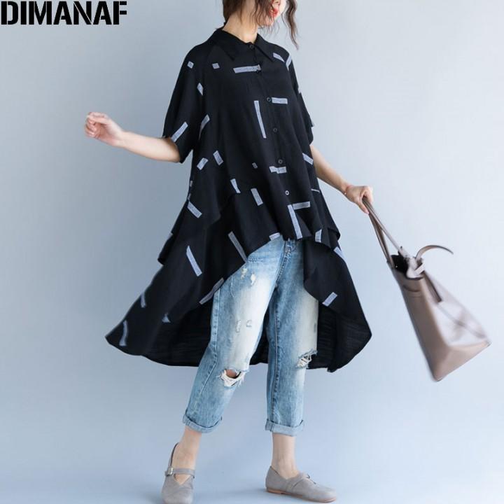 6409ffc567d Women Blouse Summer Plus Size Linen Striped Cardigan Female Large Clothing  Loose Black Long Shirt