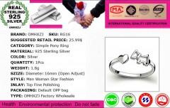 Wholesale Fashion Joker Simple Pony Lovers Couple 925 Sterling Silver open adjust female for Women 5mm