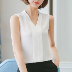 Women Chiffon Blouses v neck Ladies Tops Female Sleeveless Shirt Blusas Femininas plus sizes clot