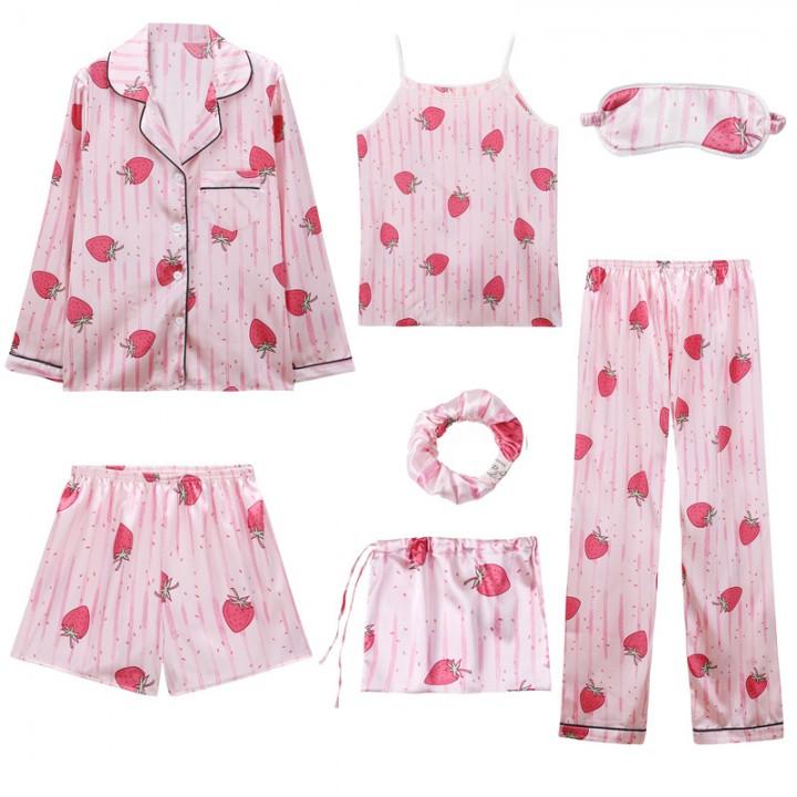 02f7d89f3b 2018 Women 7 pieces Pajamas Sets Satin Silky Lingerie Homewear Sleepwear  Pyjamas for Woman Tops+