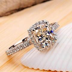 sterling silver rings for women Super flash 2 carat big yellow Cubic Zircon wedding Rings women j