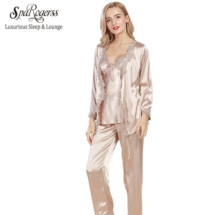 Luxurious Women Robe Pajama Sets 2017 Faux Silk Ladies 3 Pcs Lace Silky  Pajamas Pants Set Pajama  Product No  1851458. Item specifics  Seller  SKU qWNYGjbFub ... 0870e2ca9