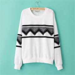 WOMEN New Autumn European Casual Print Soft Sweatshirt Women Sweatshirts Ethnic Pullover Tops Blouse White29 S