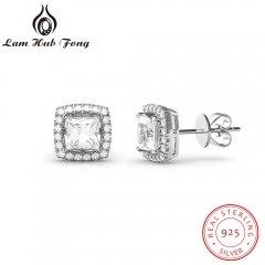 6mm Zirconia Square Earrings For Women Real 925 Sterling Silver  Earrings Elegant Wedding Jewelry 925 silver