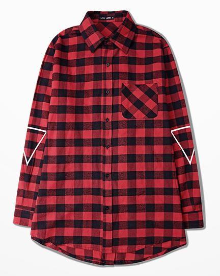 bb310ba7413c Long Men Shirt C2h4 Red Grid Back Zipper High Street Hipster Clothes Bape  Strip Unisex Shirt