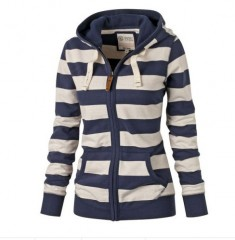 Long-sleeved Women Hooded Striped Sweater Coat Large Size Jacket  Europe America Cardigan Coats Cl Blue173 XXXL
