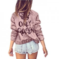 Out Wear Chic Fashion Newest Frontier Womens Jacket Only Queen Print Satin Bomber Long Sleeve Zipper Pink1052 L
