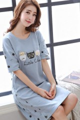 Summer cotton Pijama women Long Nightgown short-sleeve Dress Cartoon Cute lady's Sleepwear xfl1823cottonDress173 XL