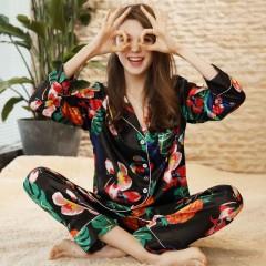 Flower Print Satin Silk Pyjama 2018 New Spring Women Pajamas Full Sleeves Full Length Pants 2 Pie as the picture 2xl