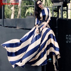 Style Fashion Bohemian Stripe Floor-Length Long Dress Muslim Female O-neck Three-Quarter Sleeve D XL blue173