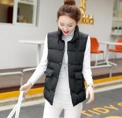 New  Autumn Winter   Coat Women Ladies Casual Waistcoat Female Sleeveless Cotton Vest Jacket Long Black193 XL