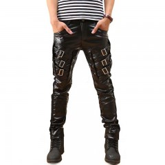 Arrival Mens Korean Gothic Punk Fashion Faux Leather Pants PU Buckles Hip Hop Applique Black   Le
