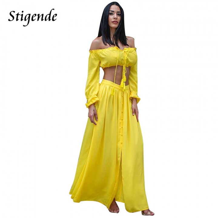 071896ee1393c PLUS SIZE Two Piece Sets Women Chiffon Long Sleeve Crop Top and Skirt Set Off  Shoulder