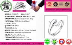 Wholesale Fashion Joker Simple Dolphin Lovers Couple 925 Sterling Silver open adjust female 73*34*15mm
