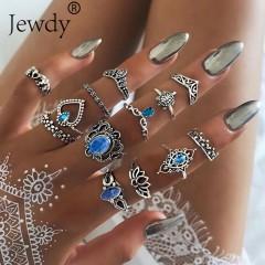 PCS/SET Vintage Elephant Turtle Crystal Crown Rings Set for Women Lotus Heart Midi Knuckle Rings picurte colors29