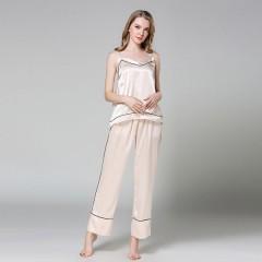 quality silk Pyjamas Women Satin Summer Fashion Sexy Pajama for Women Short Sleeve Pajama& ful Champagne200001951 M