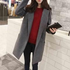 Fashion Woolen Long Slim Students Thicken Coat Women Overcoat S M L XL Gray/Dark Blue Gray691 s