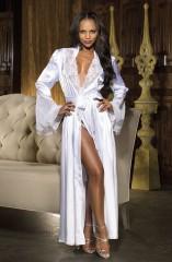 2018 Women Lingerie Satin Silk Lace Long Sleeve V-Neck Sleepwear Pajamas Nightdress Night Bath Robe White29 M