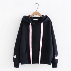 Sweatshirt Female Cartoon Embroidery Hooded Pullover Tracksuit Winter Women Harajuku Kawaii Sweat Navy Blue201800840 One Size