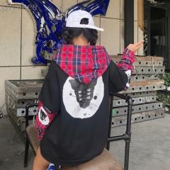 Autumn Women Harajuku Cat Printed Pullover Plaid Fake  Hooded Sweatshirt Streetwear Casual suit black193