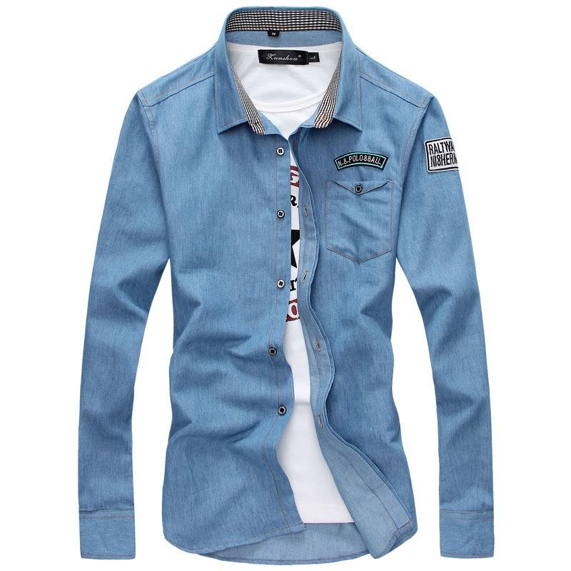 bdc6ff4e ... Clothing & Accessories Source · autumn 2018 Fashion Vestidos cowboy long  sleeve shirt men silm show