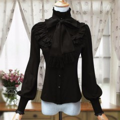 Vintage LOLITA Wine Red Black Blue White Long Sleeve Chiffon Shirt Women Stand Collar Elegant Blu