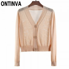 Yellow Thin Button Cardigan Crop Sweater Autumn Outwear Full Sleeve Knitted Open Stitch Tops Coat