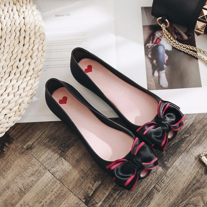 811d892f1d 1 Pairs Women Jelly Shoes Female Cute Bow Plastic Flat Shoes Lady Peep Toe  Beach Shoes Women Black193 10
