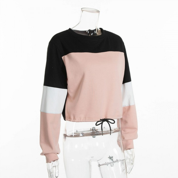 New Women Autumn Contrast Color Hoodies Navel Bare Crop Tops Loose Casual Sweatshirts  Long Sleeve 05c891e4d