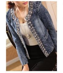 Autumn Spring Women Vintage Sequins Denim Jacket Female Short Slim Jeans Coat Ladies Casual Cowbo Blue173 S