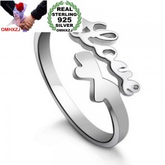 Fashion Simple LOVE Butterfly Lovers Couple 925 Sterling Silver open adjust female for Woman  925 sterling silver
