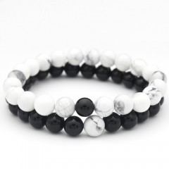 Stone White and Black 2Pcs/Set Couples Distance Bracelet Classic  Beaded Bracelets for Men Women C200004862