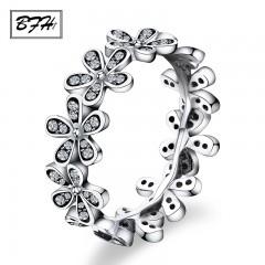 Fashion Luxury Rhinestone Flower Silver Rings for Women Girl Wedding Party Charm Elegant Crystal 6 Silver29