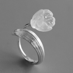 Fun Real 925 Sterling Silver Natural Crystal Handmade Fine Jewelry Lily of the Valley Flower Ring