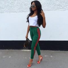 High quality women 2018 New sporty sweatpants track pencil pants Casual Side stripe harem Bottom Green pants s
