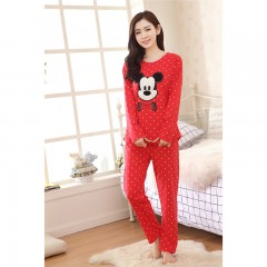 NEW Autumn mickey Cotton Pajamas Female CartoonLovely And Wweet Casual Thin Pijamas Mujer Sleepwear red10 M